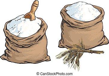 borse, frumento, legno, farina, paletta, pane integrale, orecchie