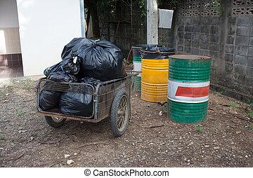 borse, Immondizia, preparare, disposizione, nero, mucchio, spreco