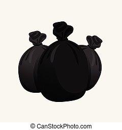 borse, immondizia, tre, illustrazione, plastica, spreco, borsa, mucchio, nero, rifiuti, nero