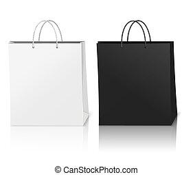 borse, mockup, shopping, composizione, realistico
