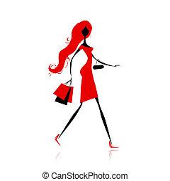 borse, moda, shopping, disegno, ragazza, tuo