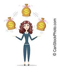 borse, pieno, soldi., presa a terra, donna d'affari