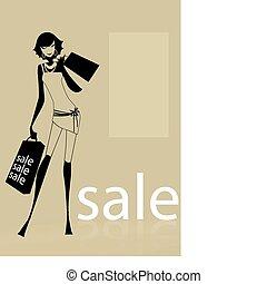borse, portante, shopping donna, giovane