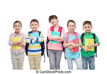 borse, scuola, quaderni, bambini, felice