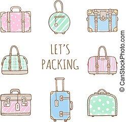 borse, set, vecchio, valigie, vendemmia, viaggiare