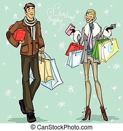 borse, shopping, coppia, scatole, presente, felice