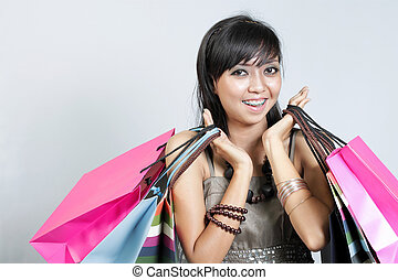 borse, shopping donna, asiatico, lotto, sorridente