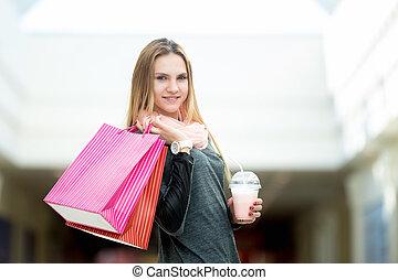 borse, shopping donna, cocktail, giovane, supermercato, fragola