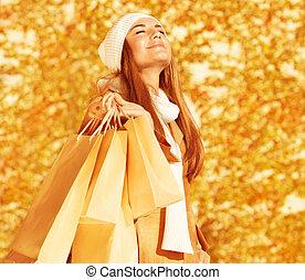borse, shopping donna, felice