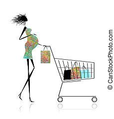 borse, shopping donna, incinta, disegno, tuo