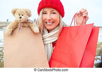 borse, shopping donna, inverno, regalo, presa a terra, vendita dettaglio, o