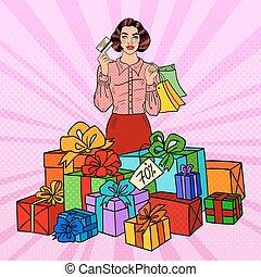 borse, shopping donna, regalo, enorme, pop, scatole, arte, felice