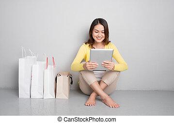 borse, shopping donna, seduta, giovane, asiatico, besides, linea, casa, fila