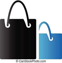 borse, shopping, duetto, -, tono, icona
