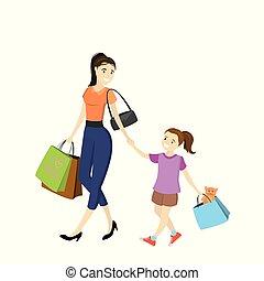 borse, shopping, figlia, mamma