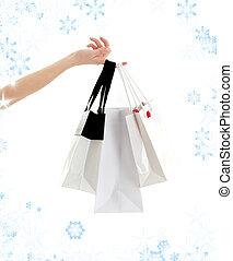 borse, shopping, fiocchi neve, mano