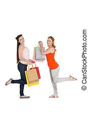 borse, shopping, giovane, femmina, amici, felice