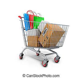 borse, shopping, illustration., carrello, fondo., scatole, bianco, 3d