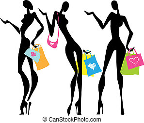 borse, shopping, illustrazione, donne