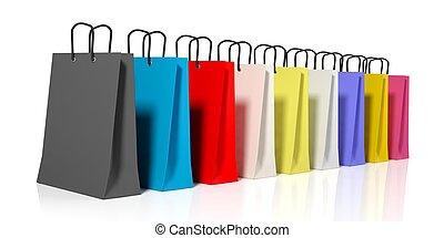 borse, shopping, interpretazione, fondo, bianco, 3d