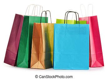 borse, shopping, isolato, carta, fondo, bianco