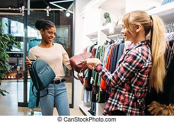 borse, shopping, negozio, due, scegliere, femmine