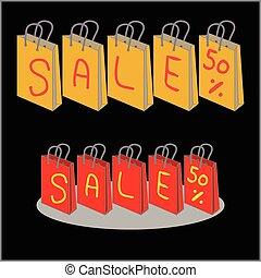 borse, shopping, percento, vendita, 50, scontare, vettore
