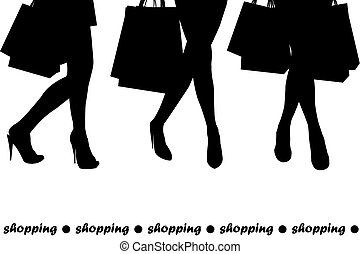 borse, shopping, presa a terra, donne