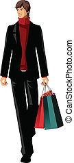 borse, shopping, presa a terra, uomo