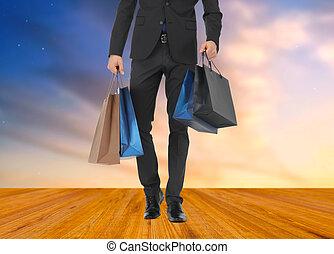 borse, shopping, su, completo, chiudere, uomo