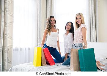 borse, shopping, tre, amiche, felice