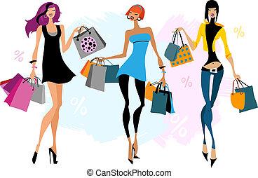 borse, shopping, tre donne