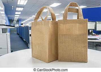 borse, shopping, ufficio, eco-amichevole, tavola, bianco