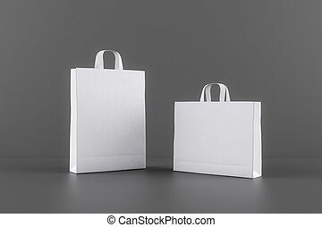 borse, spazio bianco, mockup, tuo, vuoto, scuro, eco, carta, fondo., logotipo