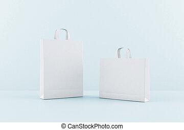 borse, spazio bianco, tuo, vuoto, beffare, eco, su, carta, blu, fondo., logotipo