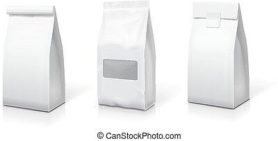 borse, spuntino, illustration., cibo, set., su, collezione, imballaggio, sacchetto, lamina, vettore, carta, sagoma, vuoto, bianco, stare in piedi