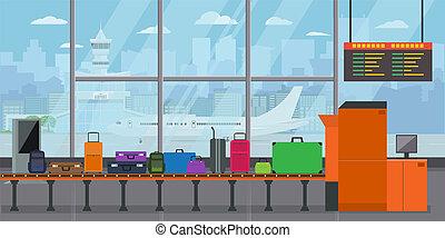 borse, stile, vettore, trasportatore, solido, valigie, appartamento, terminale, departure., aeroporto, bagaglio, illustrazione, carosello, cintura, colorare, prima