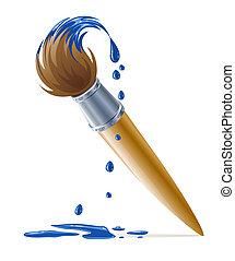 borsta, för, målning, med, droppande, blå måla