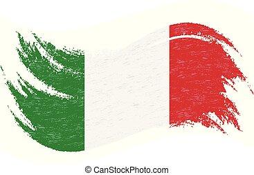 borsta, italien, isolerat, planlagt, vit, slaglängder, vektor, användande, bakgrund., illustration., national flagg