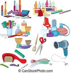 borstels, salon, set, beauty, opmaken, manicure, pictogram