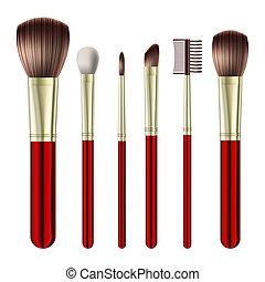 borstels, set, makeup
