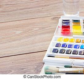 borstels, verven, watercolor, set