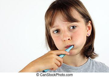 borstning, flicka, henne, tänder