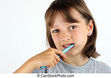 borstning, flicka, ung, henne, tänder