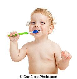 borstning, le, unge, tänder