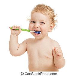 borstning, lycklig, tänder, barn
