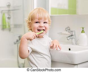 borstning, lycklig, tänder, unge