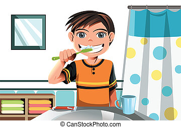 borstning, pojke, hans, tänder