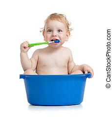 borstning, sittande, tänder, baby, handfat, unge, lycklig