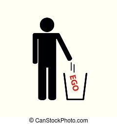 bort, man, ego, lyror, pictogram